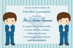 Personalised First Communion Invitations Boy Twins New Design 1